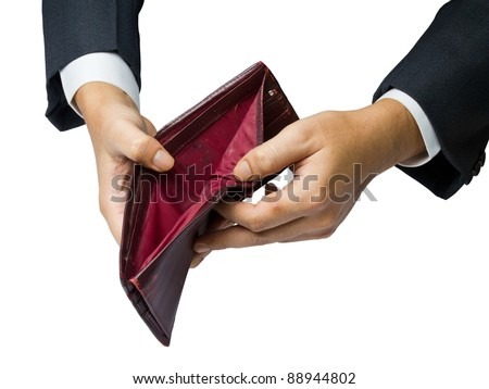 Having no money concept (hand show an old wallet)