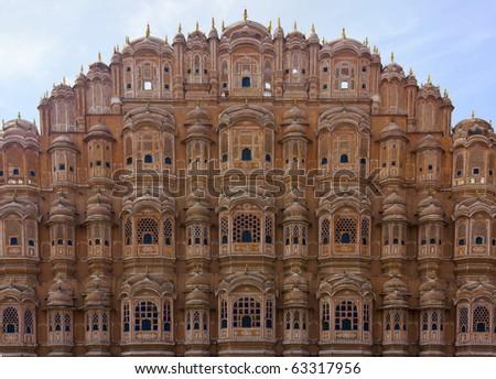 Hawa Mahal - facade in red sandstone, Jaipur, Rajasthan, India