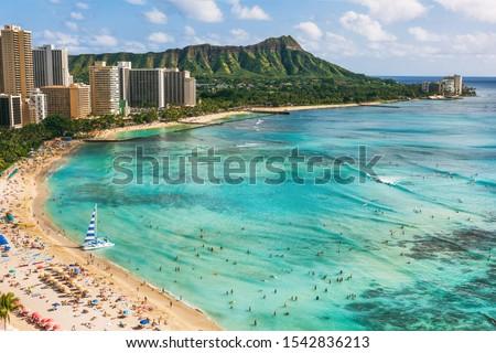 Hawaii beach Honolulu city travel landscape of Waikiki beach and Diamond Head mountain peak at sunset, Oahu island, USA vacation.