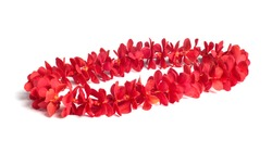 Hawaii flowers lei necklace made from  fresh orchid flower, single red mokara orchid.