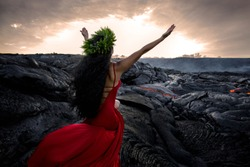 Hawaii God Pele creating Lava