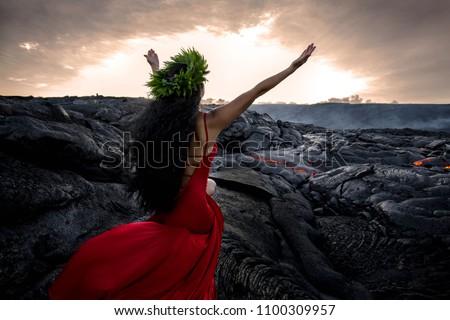 Hawaii God Pele creating Lava Foto stock ©