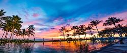 Hawaii Honolulu Oahu Pool Side Sunset And Palm Trees