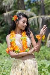 Hawaii Hula dancer dancing on natural green background palms trees.