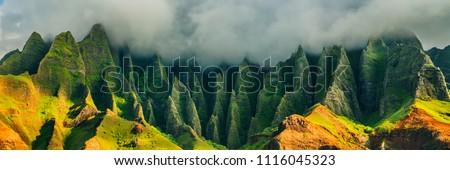 Hawaii Kauai mountains nature travel landscape. Na Pali coast, Kauai, Hawaii of Napali coastline in Kauai island, Hawaii, USA. Panorama banner copy space on mountains.