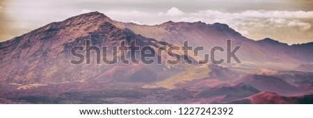 Hawaii Maui Volcano landscape banner panorama. Volcanic mountain nature in Maui, Hawaii. Haleakala Crater National Park.
