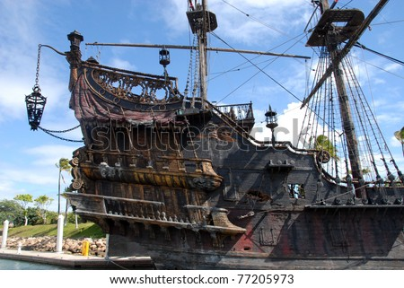 HAWAII - MAY 9: The Black Pearl from the movie Pirates of the Caribbean is shown docked at Ko Olina marina on May 9, 2011 in Hawaii. The movie completed filming in October of 2010. - stock photo