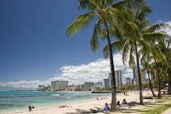 Hawaii oahu island Waikiki beach panorama