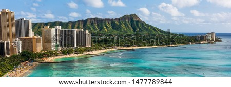 Hawaii panoramic Honolulu city travel landscape banner background of Waikiki beach and Diamond Head mountain peak at sunset, Oahu island, USA vacation. Zdjęcia stock ©
