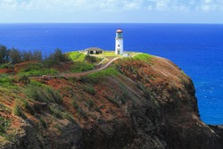 Hawaii's Kilauea Point Lighthouse, built in 1913 on the island of Kauai, is on the National Register of Historic Places.