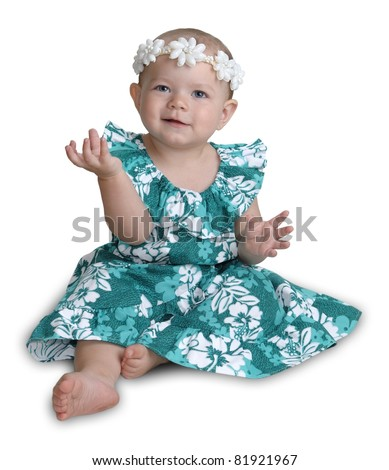 Hawaiian baby girl isolated on white.