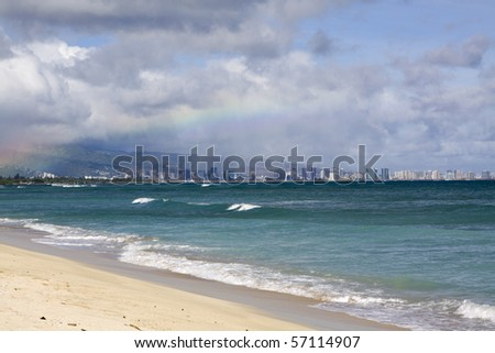 Hawaiian Beach on O'ahu Island - stock photo