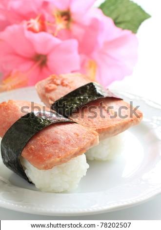 Hawaiian cuisine spam and rice fusion japanese sushi and for Aloha asian cuisine sushi