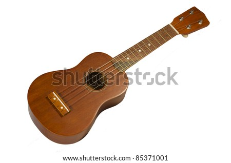 Hawaiian guitar, ukulele isolated on a white background