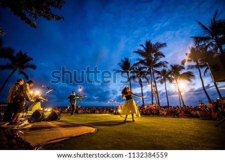 Hawaiian hula dance at Waikiki beach, Hawaii, USA
