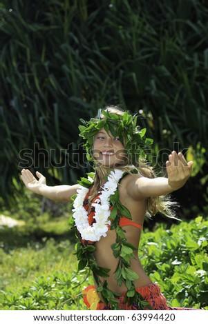 hawaiian hula danced by a teenage girl in hawaii