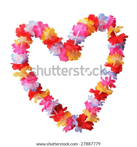 Hawaiian lei in heart shape isolated on white