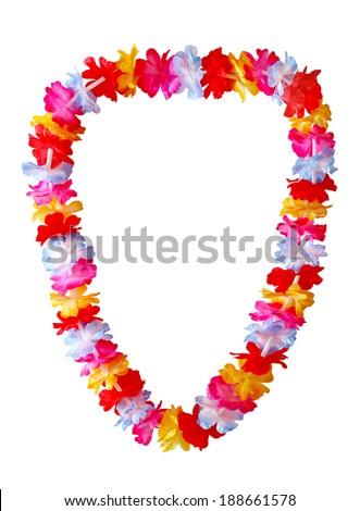 Hawaiian lei necklace isolated on white background