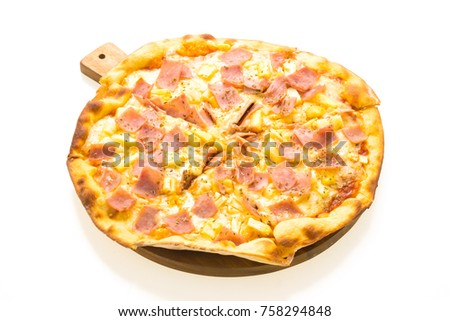 Hawaiian pizza on wooden tray isolated with white background