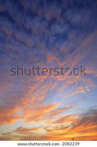 Hawaiian sunset sky with deep blue and orange colors taken in vertical format