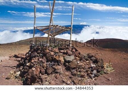 Hawaiian temple on the summit of the Mauna Kea volcano in Hawaii Big Island.