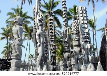 Hawaiian Totem Poles #592919777