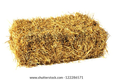 Hay bale isolated on white #122286571