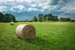 Hay bale on a green meadow and clouds on the sky