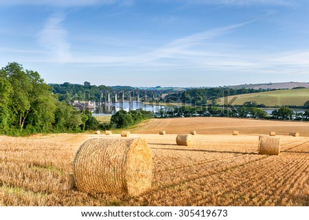 Hay bales at harvest time in the Cornish countryside