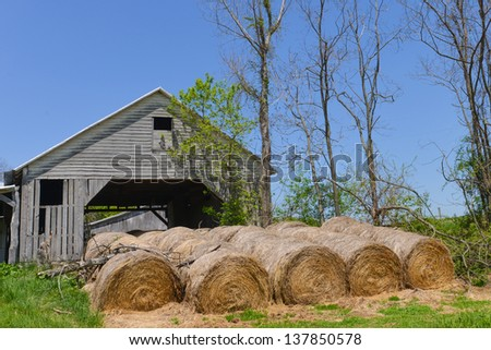 Hay bales in front of the barn