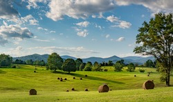 Hay bales in pasture on horse farm in shadow of the Blue Ridge Mountains in central Virginia near Charlottesville.
