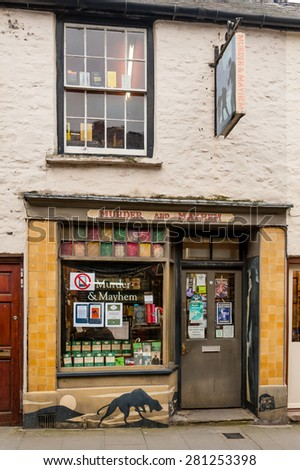 HAY ON WYE, WALES - FEBRUARY 25, 2013: Murder and Mayhen specialist bookshop in Hay on Wye.  Hay on Wye is a town in Wales on the border with England famous for the annual book fair in May.