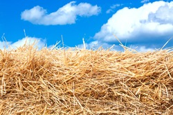 Hay stack detail. A close up of a haystack under the blue cloud sky.
