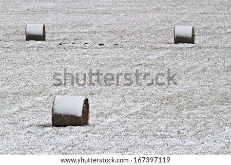 Hay stack in a field after first snow. #167397119
