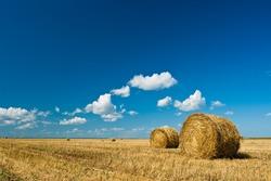 hay stacks in autumn field under blue skies