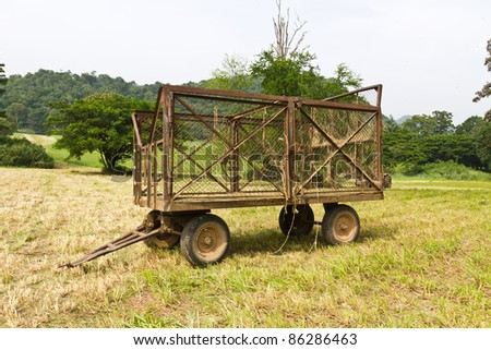 Hay wagon with fresh cut hay or straw