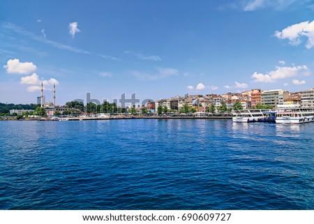 Haydarpasa Protokol Mosque and Kadiköy coastline in Istanbul June 29, 2016 Turkey. Stok fotoğraf ©