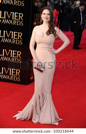Hayley Atwell arrives for the Olivier Awards 2012 at the Royal Opera House, Covent Garden, London. 15/04/2012 Picture by: Steve Vas / Featureflash
