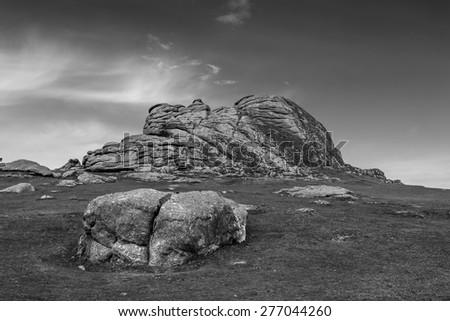 Haytor Rocks is a Granite Tor on the Eastern Edge of Dartmoor in the English County of Devon. Processed in B&W.  Stock fotó ©