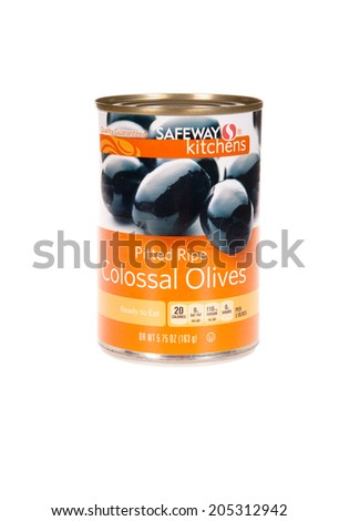 HAYWARD, CA - July 15, 2014: 5.75 oz can of Safeway Kitchens brand Pitted Ripe Colossal Olives, isolated on white