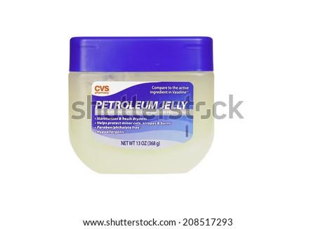 Hayward, CA - July 31, 2014: 13oz jar of CVS Pharmacy brand Petroleum Jelly