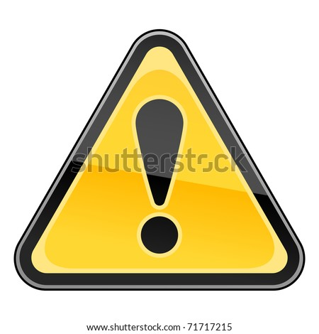 Hazard warning attention sign with exclamation mark symbol on white. Bitmap copy my vector ID: 50107477