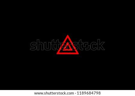 Hazard Warning Flasher Sign, Car light indicator, Red double triangle indoor indicator