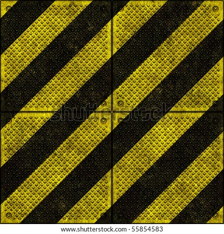 Hazard warning signs on metal plates background seamless texture - stock photo