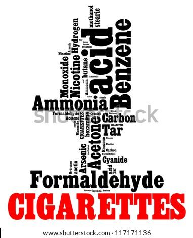 Hazardous chemicals in cigarettes info text graphics and arrangement - stock photo