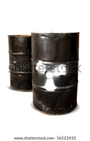 hazardous drum barrels isolated on white