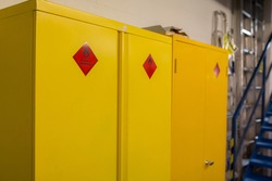 Hazardous storage cabinet in a warehouse where dangerous and flammable products can be stored safely