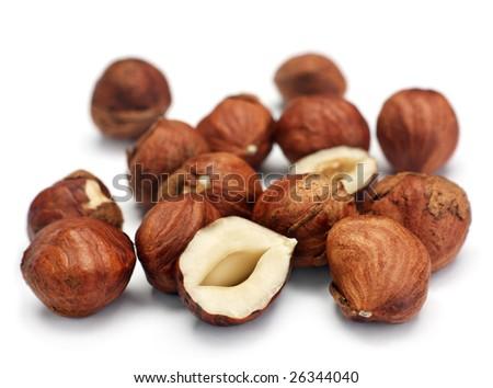 Hazel nut fruit group on white background