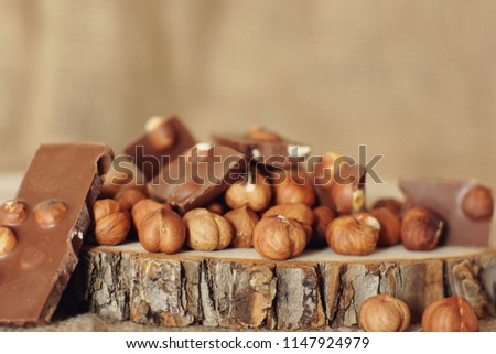 Hazelnut and chocolate on a cut of a natural tree.