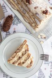 Hazelnut and Praline Christmas Yule log, Buche de Noel